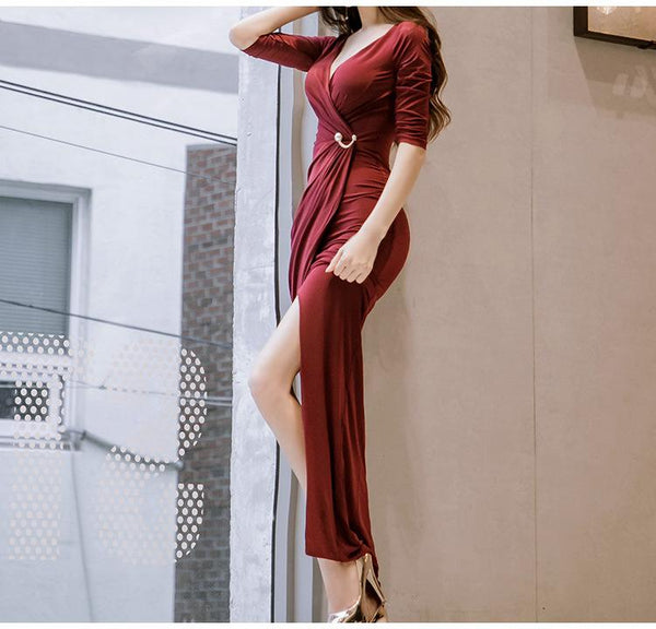 Sexy Fashion V Neck Pure Colour  Maxi Dress