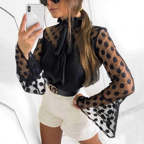 Fashion Polka Dot   Bell Sleeve  Blouse