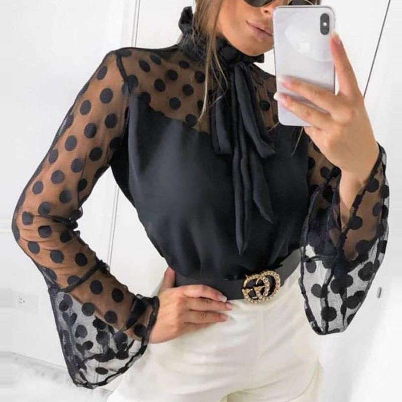 Fashion Polka Dot   Bell Sleeve  Polka Dot Blouse