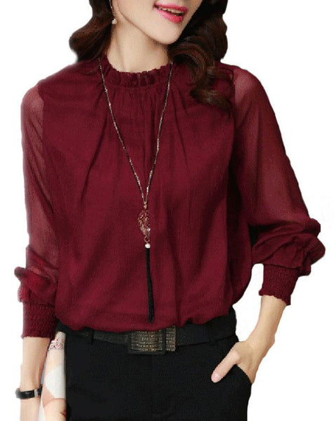 Large Size Small Stand Collar Ruffled Long-Sleeved Blouse