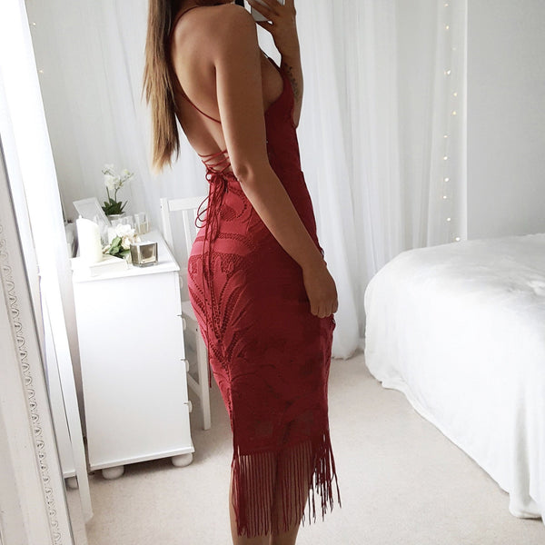 Casual Sexy Deep V   Neck Backless Lace Tassels Sling Evening Dresses