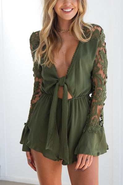 Casual Sexy Frenulum   Deep V Neck Lace Hollow Out Shorts Jumpsuit