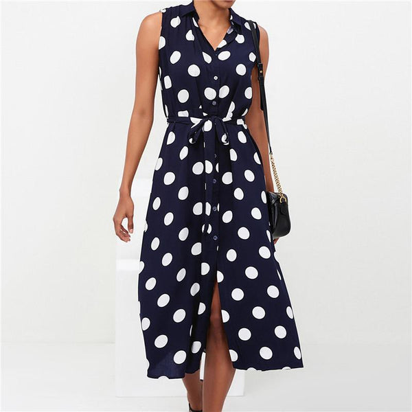 Fashion Polka Dot Sleeveless High-Waist Belted Casual Dresses