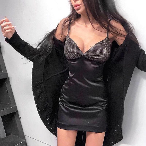 Sexy V Neck Sling Wrap Chest Pure Colour Mini Dresses