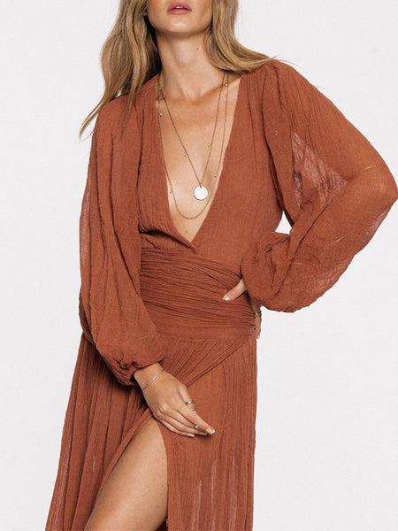 Sexy Deep V Bishop Sleeve Pleated Slit Maxi Dresses