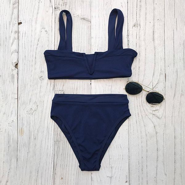 Split Neck  Plain Bikini