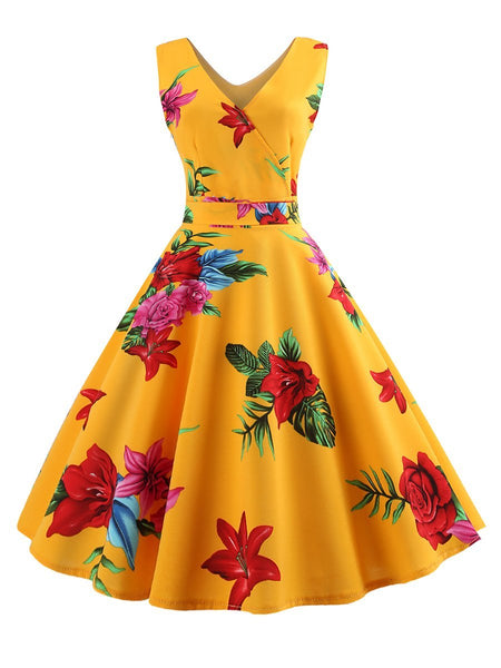 V Neck  Floral Printed Skater Dress