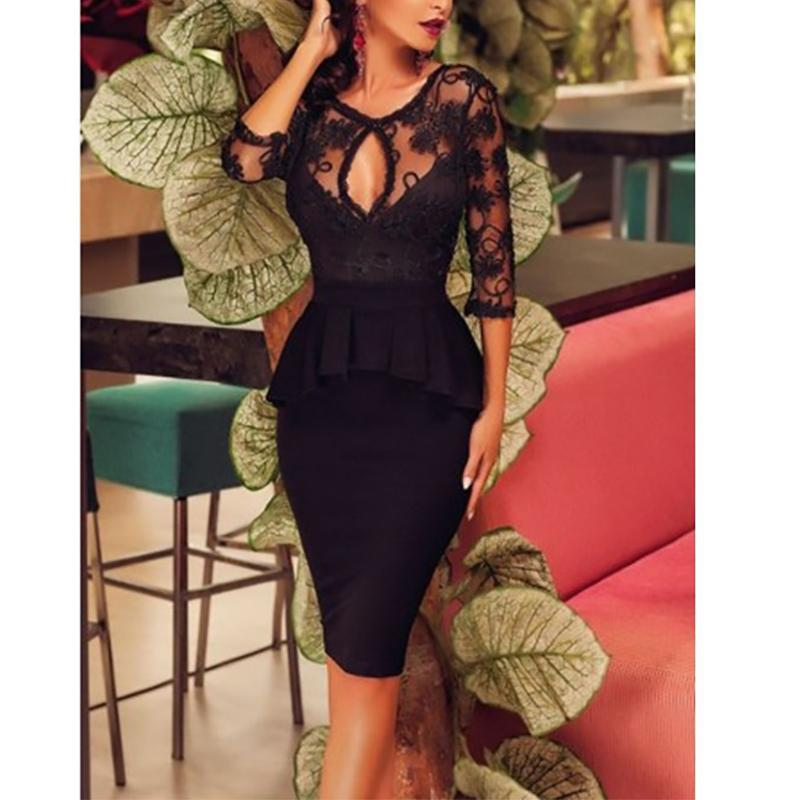 Fashion Lace Splicing Bare Back Bodycon Dresses