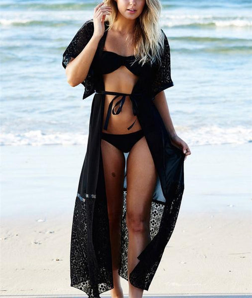 Casual Sexy Lace   Splicing Beach Sunscreen Cardigan