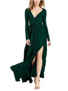 Casual Sexy Deep V   Neck Slim Long Sleeve Side Split Maxi Dresses