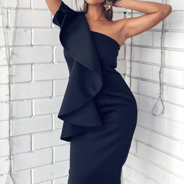 Fashion Off-Shoulder Pure Colour Bodycon Dresses