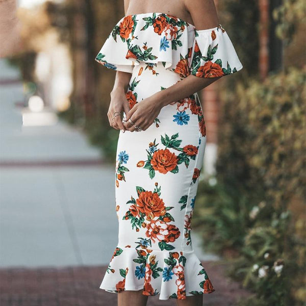 Sexy Boat Neck Printed Colour Fishtail Dresses