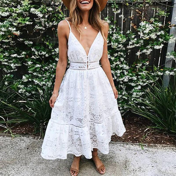 Casual Lace Bare Back Sling Wrap Chest Dresses