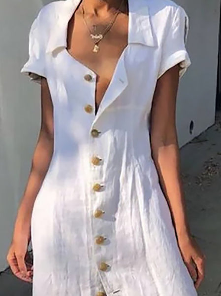 Casual Turndown Collar Single Breasted Short Sleeve Dresses