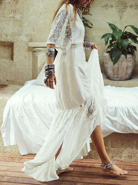 Vintage Lace Loose V Neck Beach Maxi Dresses