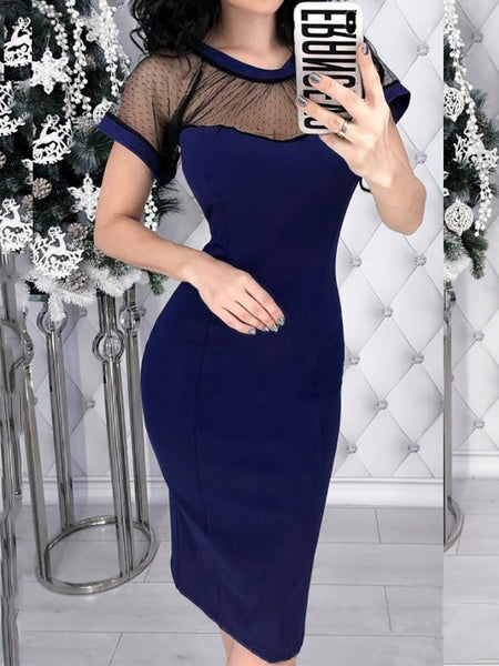 Vintage Back Deep V Splicing Bodycon Dresses