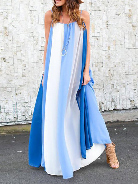 Fashion Striped Sling Blue Patchwork Beach Maxi Dresses