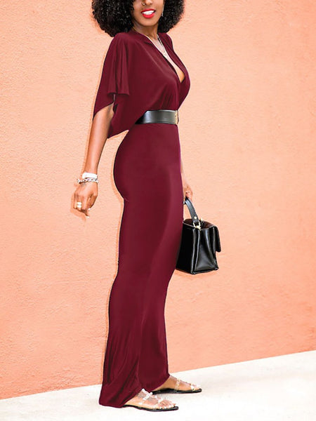 Fashion V Neck Ruffled Slim Halflong Sleeve Bodycon Dresses