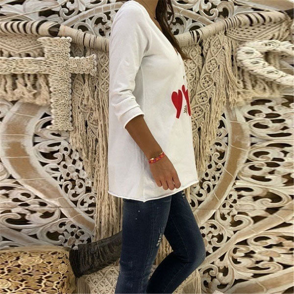 Casual V Collar Heart Printed Loose Top