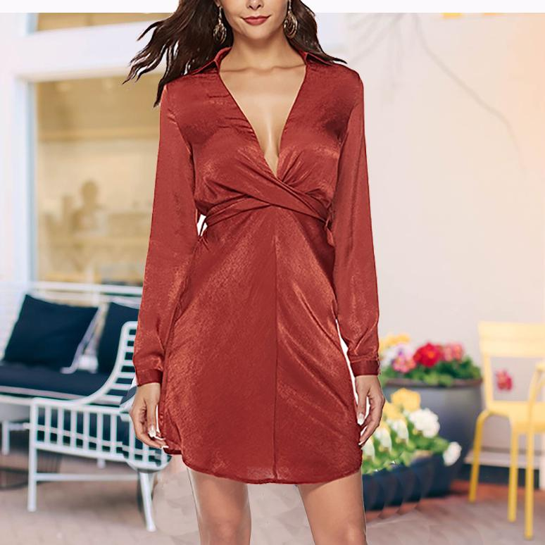 Elegant Deep V Belted Pure Colour Long Sleeve Dresses