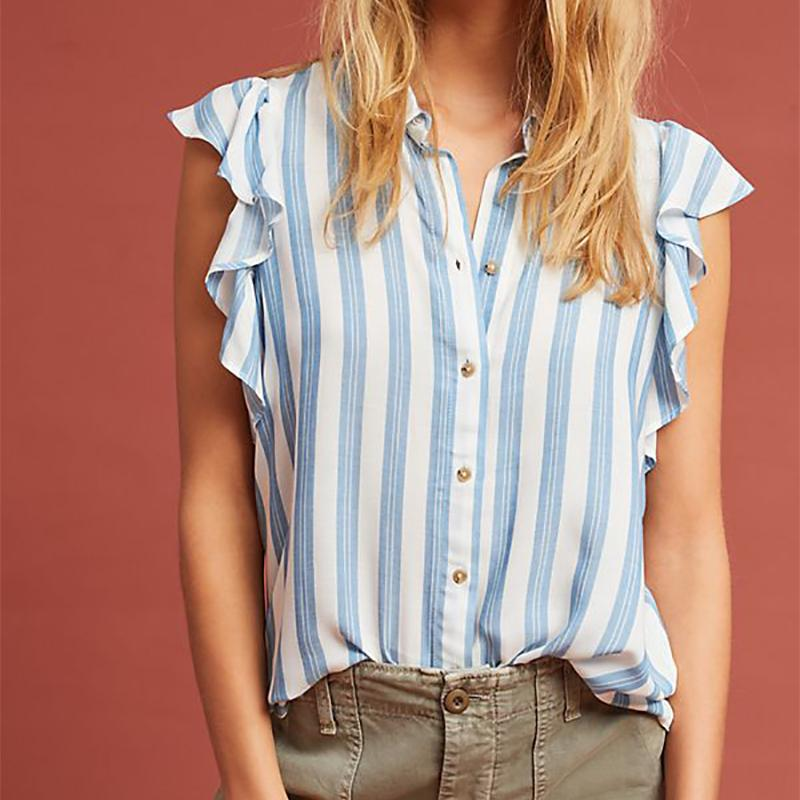 Casual Striped Ruffled Sleeve Shirt