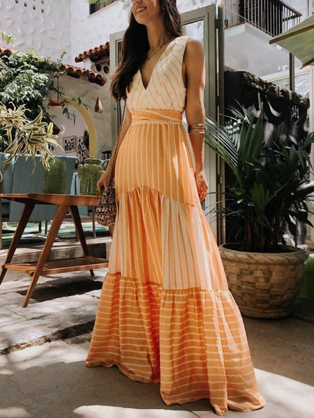 Sexy V Neck Printed Colour Maxi Dress