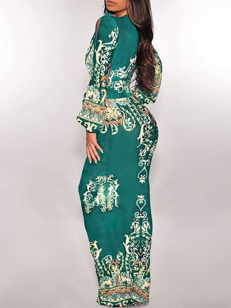 Bohemian Printed Colour Deep V Long Sleeve Maxi Dresses