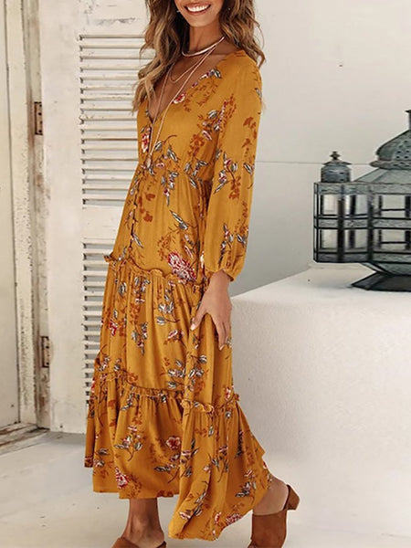 Casual Deep V Printed Colour Single Breasted Maxi Dresses