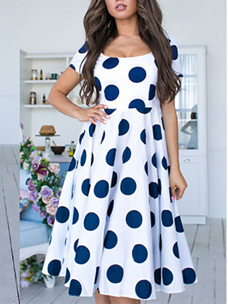 Casual Polka Dot Short Sleeve Round Neck Maxi Dresses