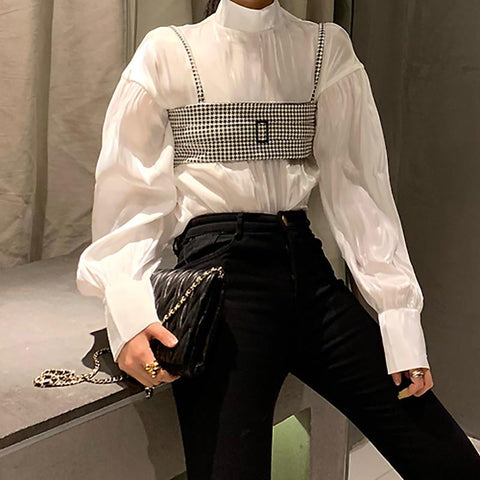 Fashion Pure Colour High Collar Shirt And Sling