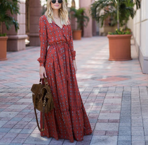 Casual Sexy Deep V   Neck National Style Print Maxi Dresses