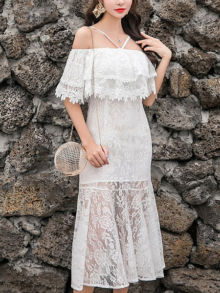 Elegant Off-Shoulder Lace Halter Fishtail Ritual Dresses