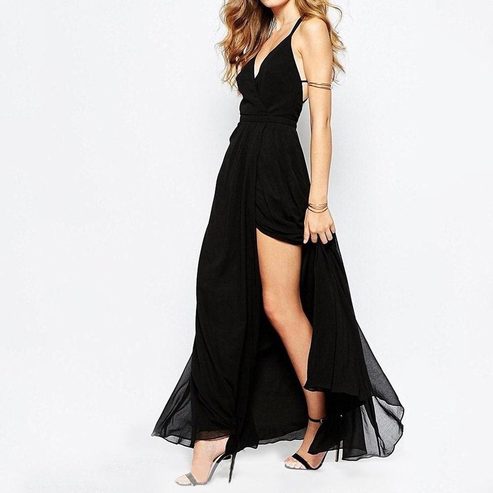 Sexy Deep V Sling Off-Shoulder Irregular Maxi Dresses
