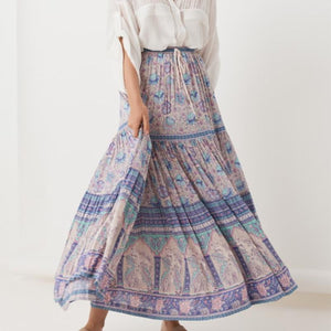 Fashion Waist-Tight Belted Printed Colour Skirt