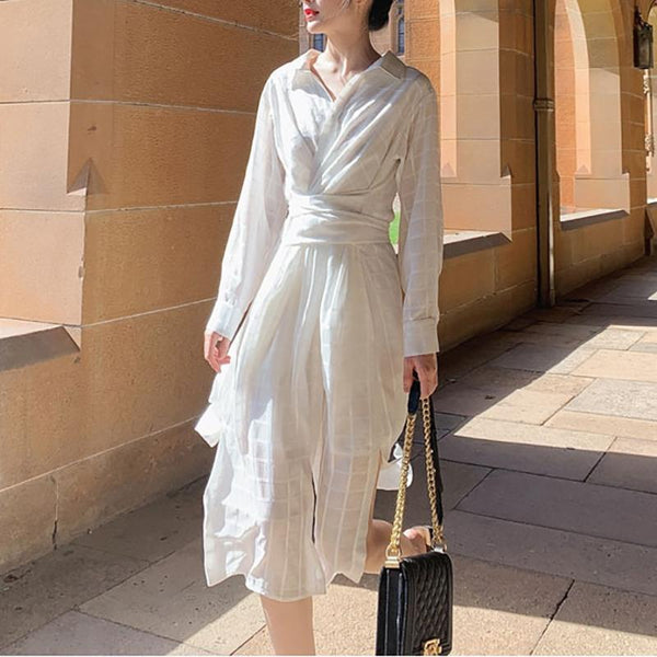 Fashion High-Waist Shirt Collar Belted Dresses