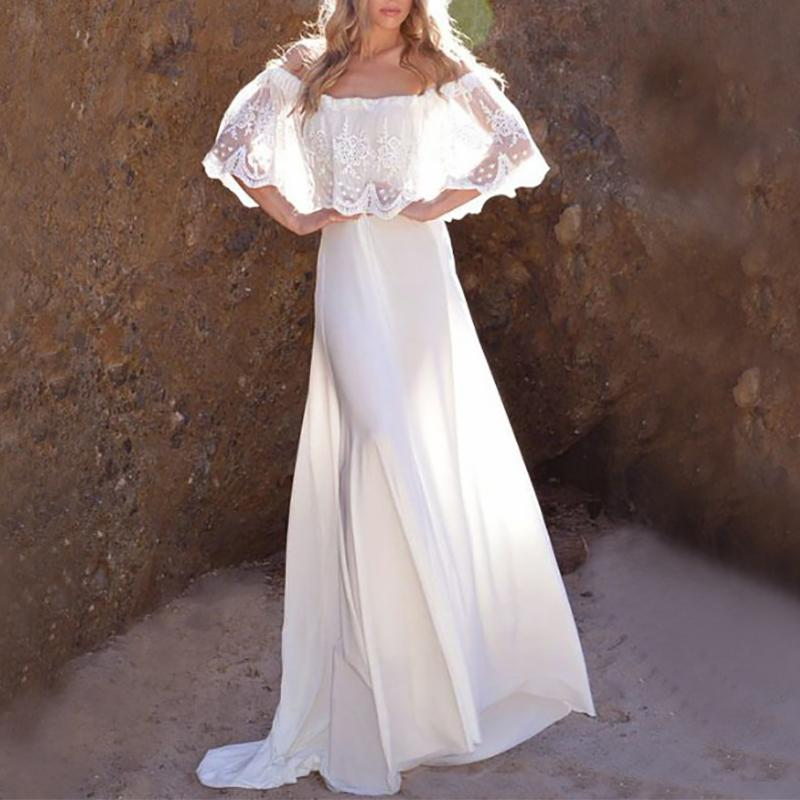 Fashion Lace Embroidery Off-Shoulder Maxi Dresses