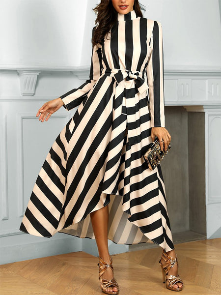 Elegant Striped Long Sleeve Stand Collar Maxi Dresses