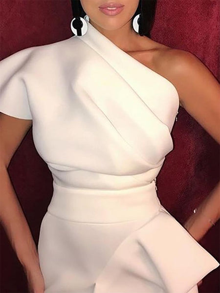 Elegant Sloping Shoulder Pure Colour Waist Bodycon Dresses