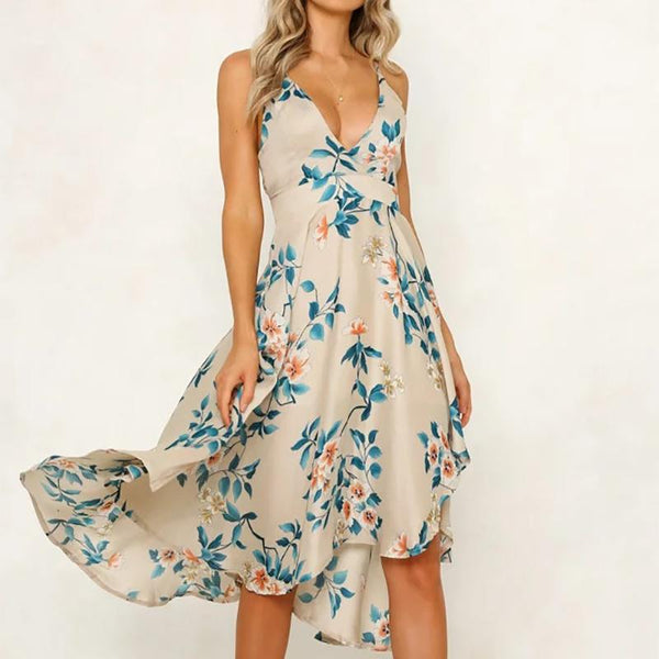 Casual V Neck High-Waist Sleeveless Bare Back Dresses