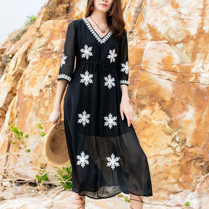 Casual High-Waist Inwrought Slim Maxi Dresses