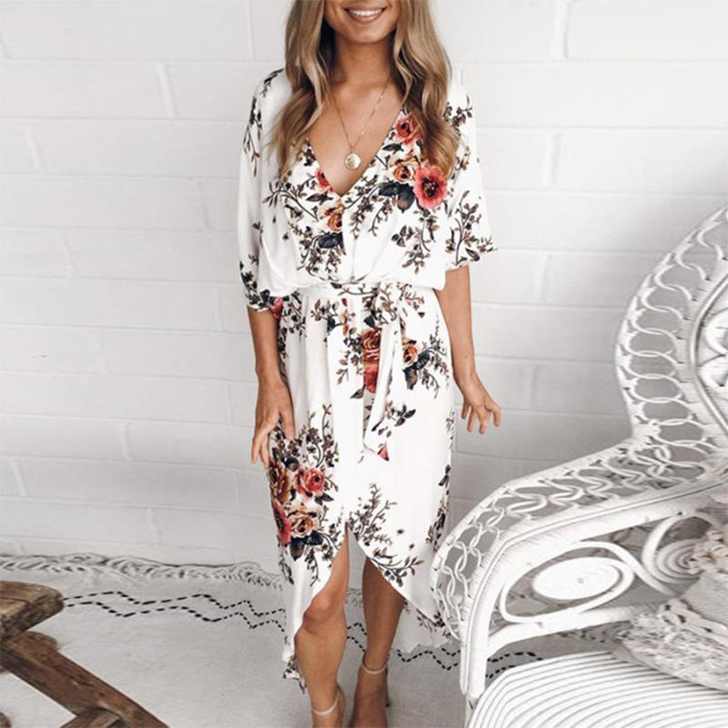 Fashion V Neck Printed Colour Irregular Belted Dresses
