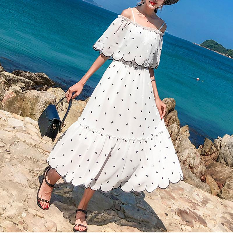 Casual Polka Dot Sling Off-Shoulder Maxi Dresses