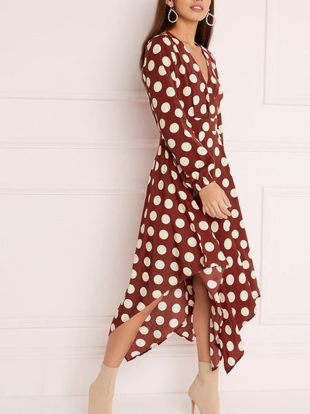 Sexy V Neck Polka Dot Irregular Long Sleeve Dresses