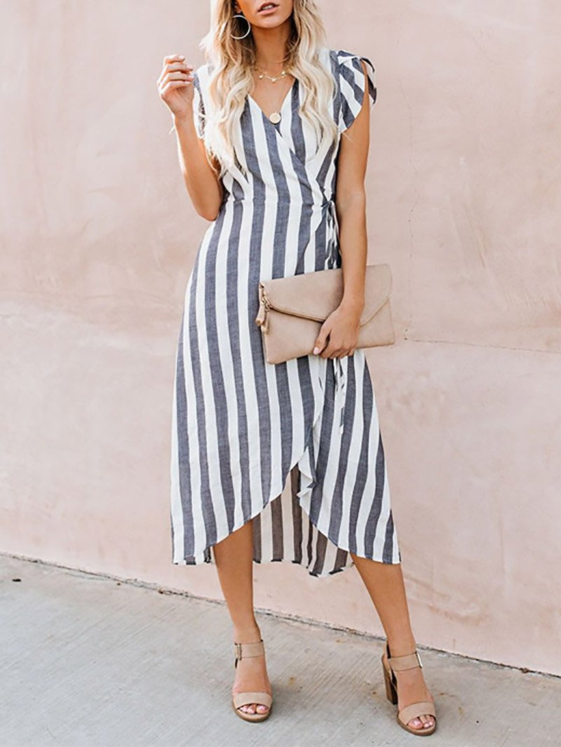 Casual Striped V Neck Short Sleeve Casual Dresses