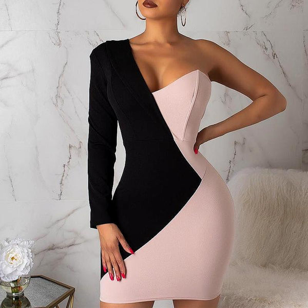 Fashion Contrast Color Asymmetric Splicing Bodycon Dresses