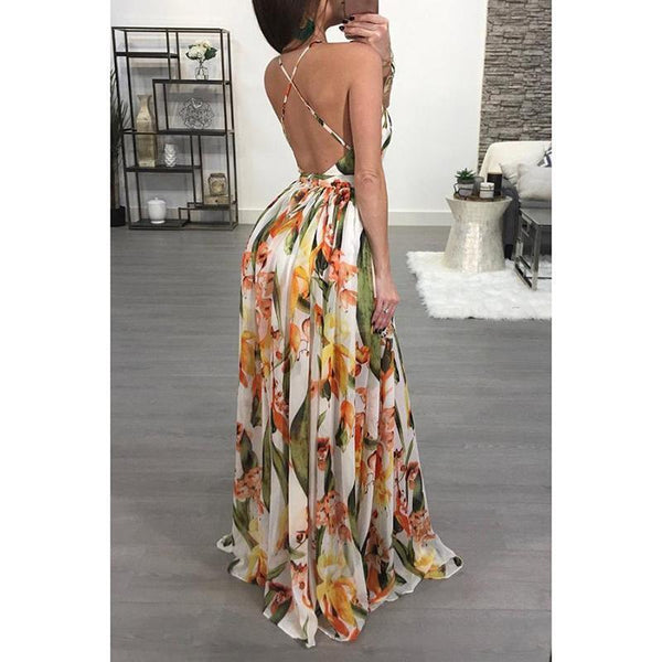 Female Sexy Sling Print Waist Hanging Neck Open-Back Floor Empty Swagger Dress