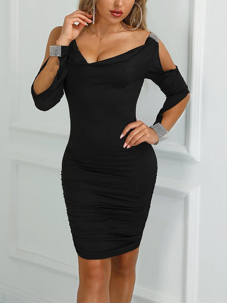 Elegant Off-Shoulder Pure Colour Bodycon Dresses