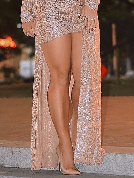 Sexy Sequins Long Sleeve Bodycon Dresses And Cardigan