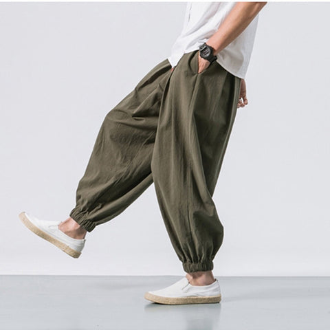 2019 Spring Plain Drawstring Loose Filmy Pants