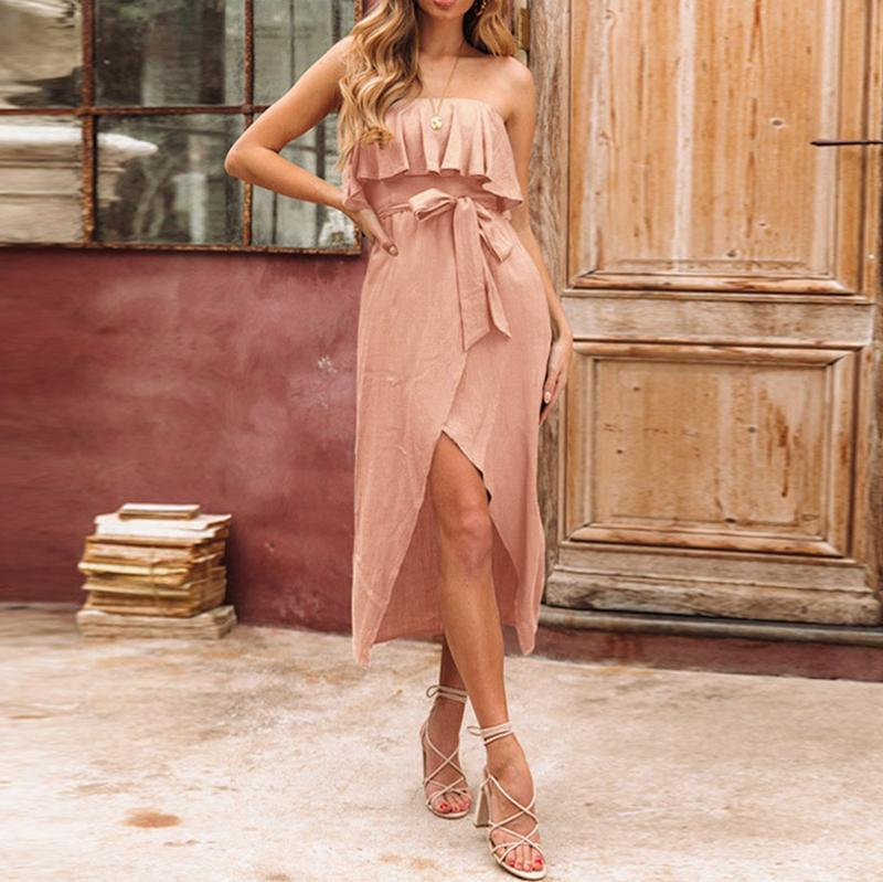 Sexy Bare Back Ruffled Slit Dresses